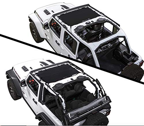 (SPIDERWEBSHADE Jeep Wrangler JLKini Mesh Shade Top Sunshade UV Protection Accessory USA Made with 5 Year Warranty for Your JL 2-Door and JLU 4-Door (2018 - current) in Black)