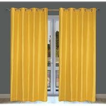 Silkana Faux Silk Grommet Curtain Panels (Set of 2)  56x88-in, Pineapple Yellow