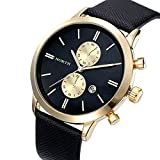 Coromose® Fashion Men Casual Waterproof Date Leather Military Japan Watch Black Gold
