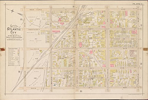 Historic 1896 Map | Atlantic City, Double Page Plate No. 9 [Map bounded by New York | Atlantic City (N.J.)Atlases of the United States | Atlas of Atlantic City, New - City N Atlantic