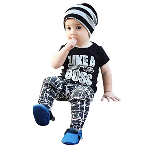 (TIFENNY Boys Short Sleeve Letters Casual T-Shirt Trousers Set (3T, Black))