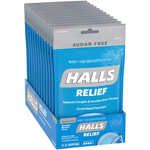 Halls Mountain Menthol Sugar Free Cough Drops - with Menthol - 300 Drops (12 bags of 25 drops)