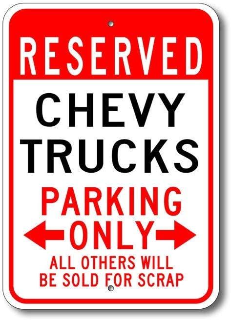 Dozili Señal de estacionamiento de Camiones Trucks Signo de Chevy Trucks Trucks Cartel de Metal Chevy Camiones camionetas Chevrolet Chevy Metal Chevy Parking Sign, Aluminio, 1 Color, 8