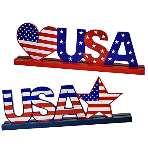 Gift Boutique Patriotic Decorations July 4 Table Toppers Set of 2 USA American Flag Star Centerpieces Memorial Day Party Supplies Accessories