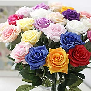 Real Touch - Real Touch Rose Flowers Home Wedding Decoration 11pcs Lot Fresh Artificial - Open Bouquet Orchids Small Latex Peonies Sunflowers Artificial Green Dollar Gardenia Ye 52