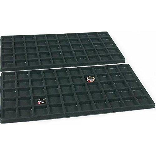 FindingKing 2 Black 50 Slot Pendant Jewelry Showcase Display Tray Inserts from FindingKing