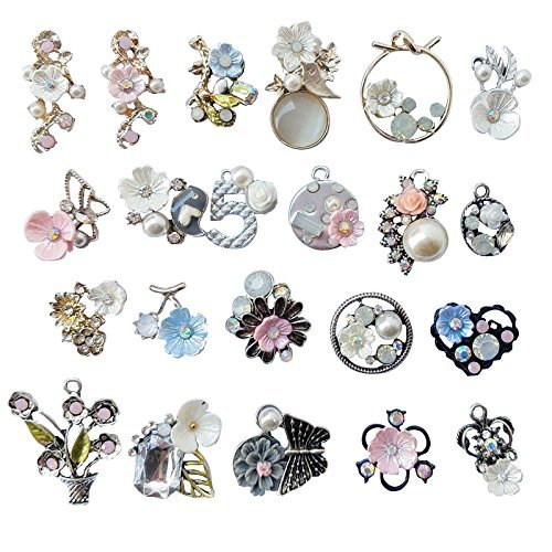Resin Jewelry Charm (Chenkou Craft Random 20pcs Wholesale Lots Mix Alloy Resin Rhinestone Flowers Pendants Charms Beads Bracelet Necklace Jewelry Findings)