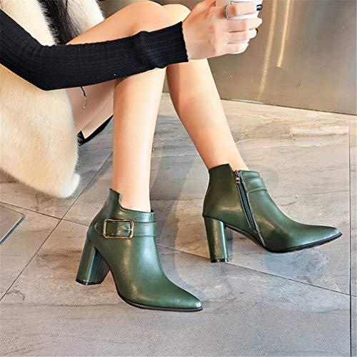 Yan Fiestas Rojo Verde De Dama Vestir Zapatos Cortas Negro Puntiagudas Para Y Alto Botas Mujer Tobillo Invierno Noche Tacón SSr4AqP