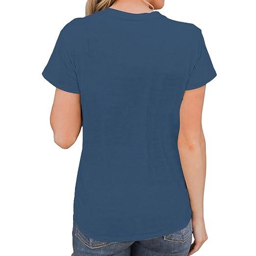 Manga Corta para Mujer Camiseta de Moda con Cuello en V Blusa de Color Puro Blusa Camisetas sin Mangas 2018 ❤ Manadlian: Amazon.es: Ropa y accesorios