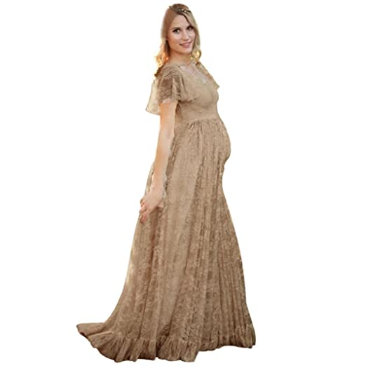 2913120fadc9d Maternity Dresses Fabal Women's Floral Lace Short Sleeve Photography Fly  Sleeves O Neck Long Dress (