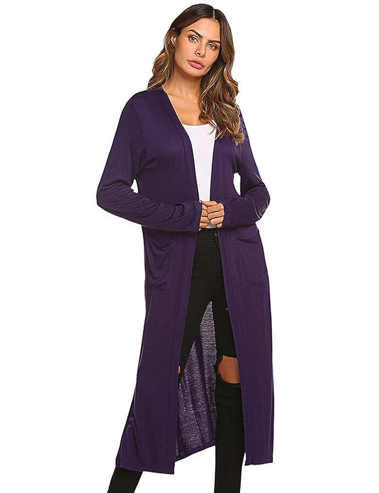 06 Purple Locryz Women's Long Open Front Maxi Duster Long Sleeve Lightweight Cardigans