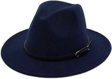 Sombrero Fedora de ala Ancha para Hombre Gorras de Fieltro de ...