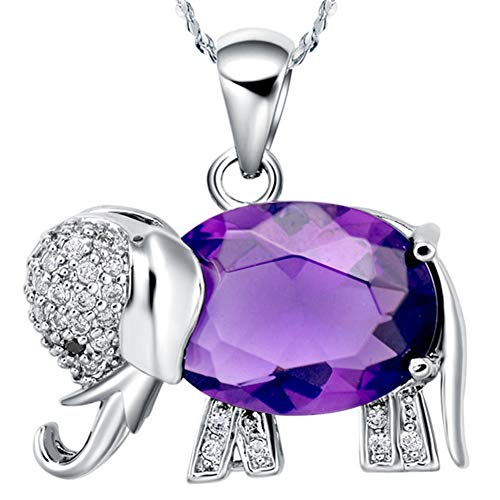 WIBERN Good Luck Memorial Keeps 18K White Gold Plated Purple Shine Crystal CZ Elephant Pendant Women Necklace Noble Jewerly ()