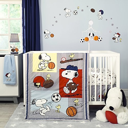 Bedtime Originals 3 Piece Snoopy Sports Bedding Set (Bedding Drop Cloth)
