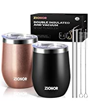 12 oz Wine Tumbler with Lids, ZIONOR Vacuum Insulated Wine Glass with Straw and Gift Box, Stainless Steel Stemless Travel Wine Cup, Double Wall, Spill Proof, for Champaign Cocktail Beer - 2 Pcs