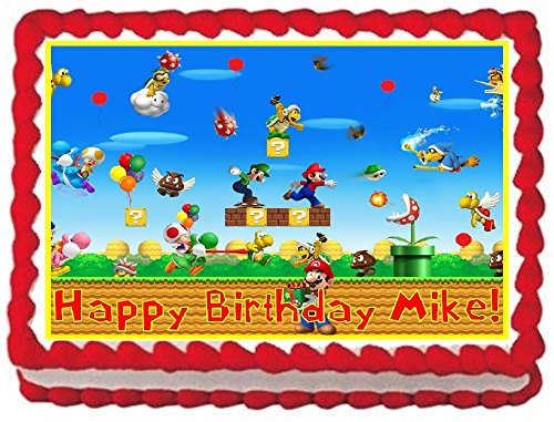 Super Mario Bros Personalized Edible Cake Topper Image -- 1/4 Sheet - Super Mario Bros Cake Decorations