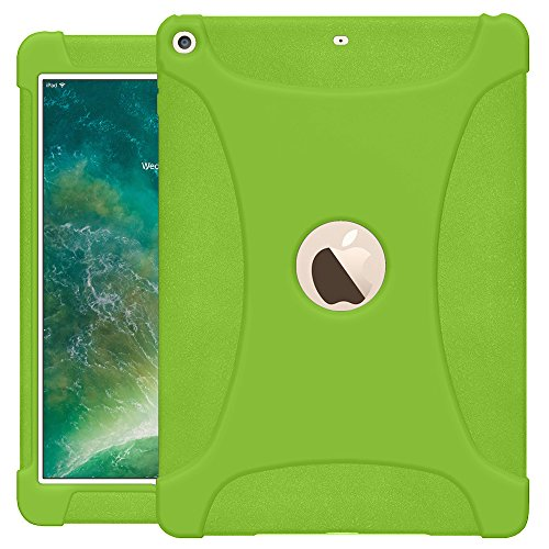 (AMZER AMZ203682 Rugged Silicone Skin Jelly Slim Protective Heavy Duty Shockproof Anti Slip Kids Friendly Case for The New 9.7 iPad 2018 - Green)