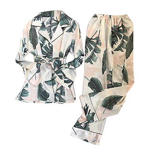 YOMXL Women Simulation Silk Print Pajamas Long-Sleeved Trousers Nightwear ()