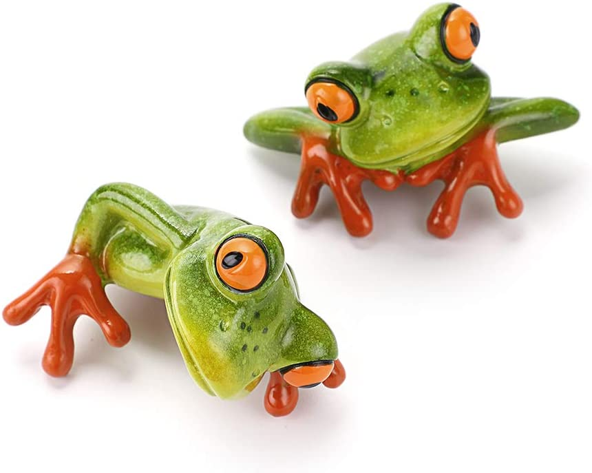 JuxYes Set of 2 Resin Creative 3D Craft Frog Figurine Computer Monitor Decor, Personalized Animal Collectible Figurines Mascot Frog Resin Crafts for Home Office Decoration