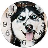 Cheap PotteLove 12″ Vintage Blue-Eyed Siberian Husky Clock Wooden Decorative Round Wall Clock
