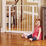 North States 38.1'' Essential Walk-Thru Gate: Ideal for securing hallways or doorways. Extra-Wide Doorway. Pressure Mount. Fits 29.8'' - 38.1'' Wide (30'' Tall, White)