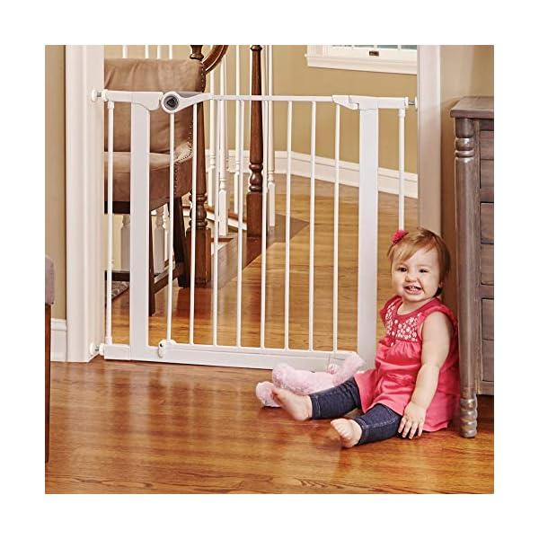 North States 38.1″ Wide Essential Walk-Thru Gate: Ideal for securing hallways or doorways. Extra-Wide Doorway. Pressure Mount. Fits 29.8″ – 38.1″ Wide (30″ Tall, White)