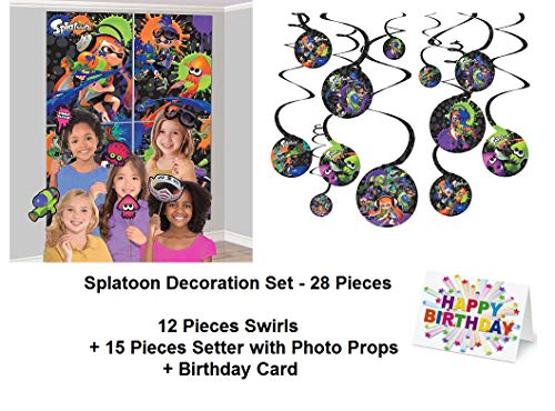 Pictures Birthday Cards - Splatoon Paint Guns Party Hanging Swirl Decorations and Scene Setter Wall Decoration with Photo Props and Birthday Card Favors Decoration Partyware 28 Pieces