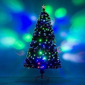 7 artificial holiday fiber optic led light up christmas tree w 8 light settings and stand - Light Up Christmas Tree