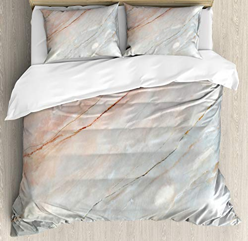 Ambesonne Marble Duvet Cover Set, Onyx Stone Textured Natural Featured Scratches Illustration, Decorative 3 Piece Bedding Set with 2 Pillow Shams, Queen Size, Peach Grey
