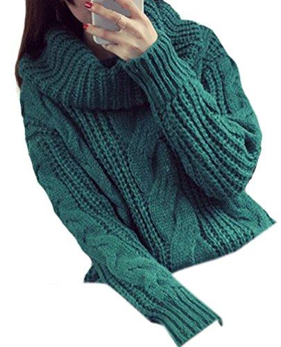Maglia da Donna Manica Lunga Casuale Sciolto Maglione Pullover Moda Piles Turtleneck Oversize Maglioni Baggy Caldo Sweatshirts Autunno Inverno Verde Scuro