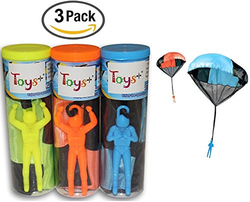 Toy Skydiver Parachute Men 3 Piece Set- Tangle Free (Colors and Styles May Vary) (Tangle Free Toy Parachute)