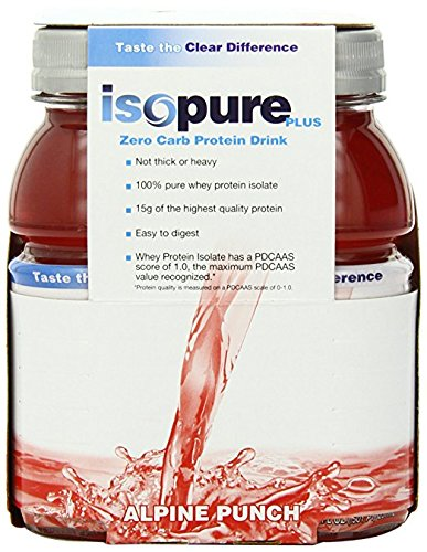Isopure Plus 0 Carb Protein Drink Alpine Punch, 6 Count, 8 Ounces Bottles (Pack of 4)