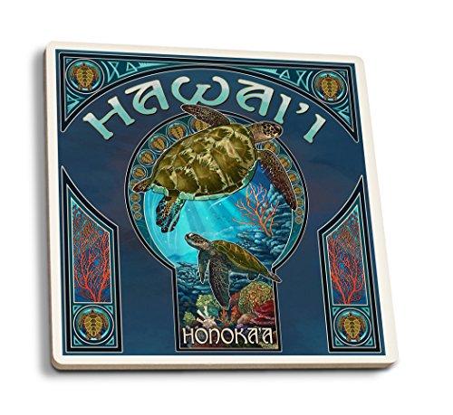 Lantern Press Honoka'a, Hawaii - Sea Turtle Art Nouveau (Set of 4 Ceramic Coasters - Cork-Backed, Absorbent) ()