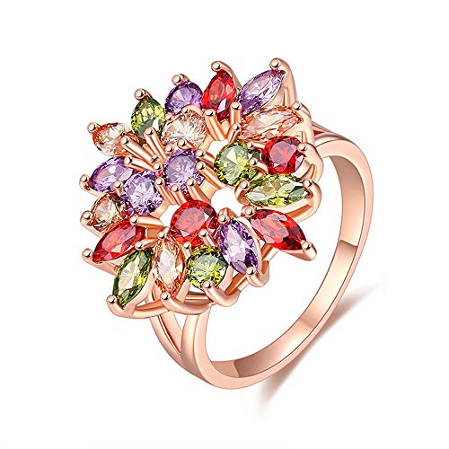 Rose Gold Plated Dazzling Color Zircon Accented Flower Lover Style Ring ()