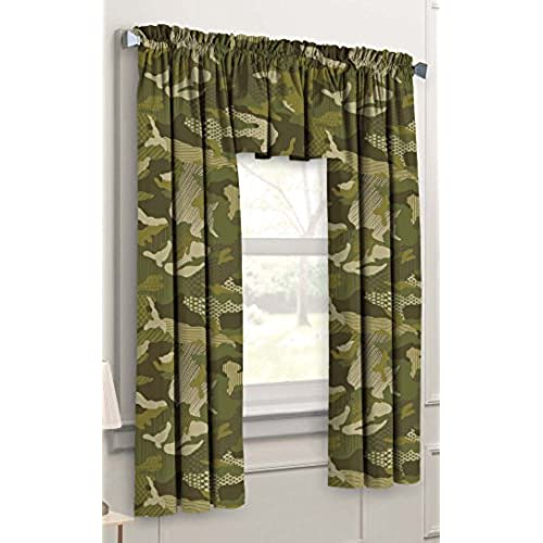 Beau Dream Factory Geo Camo 3 Piece Camouflage Kids Bedroom Curtain Panel Set,  Green, 63 Inch