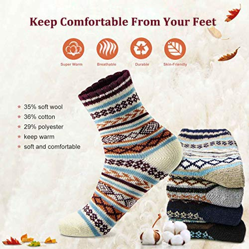 Women Cotton Socks Novelty Gifts Vintage Wool Socks Thick Knit Warm Comfy Casual Socks Gift Box