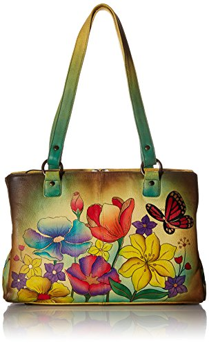 Anuschka Handpainted Leather Multi Pocket Organizer, Floral Garden