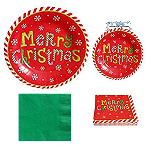 Christmas Plates and Christmas Napkins Party Supplies Set Holiday Kit Merry Christmas Words Premium Dinner Paper Plates Dessert Plates Dinner Cocktail Napkins Recipe Pack Serves 20 141 Pieces -