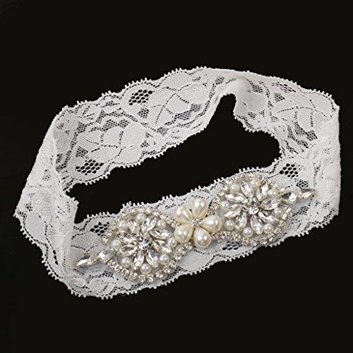 In Gallina Bianco Fiore Party Strass 9 Sposa Giarrettiera MagiDeal Pizzo Accessori con da qvE6FHI