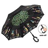Inverted Umbrella Automatic Double-Layer Windproof,Travel Reverse Umbrellas UV Proof Folding for Women/Men.(Travel)