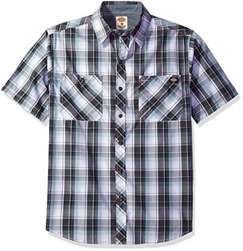 Single Dickies Dockside Pocket Shirt Sleeve Resistant Wrinkle Short Men's Charcoal Plaid Blue BfZrqwfXz