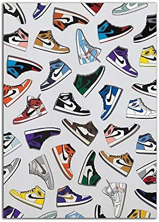 YGYT Posters Picture Sneaker Air Print Home Decor Nordic Fashion Jordan Shoes Painting Canvas Modular Wall Art Michael AJ History Frame
