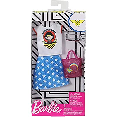 Barbie Clothes: Wonder Woman Outfit Doll with Graphic Top, Star-Print Skirt, Purse and Sunglasses, Gift for 3 to 8 Year Olds: Toys & Games