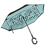 Bottle Tip Hope Double Layer Reverse Umbrella Hand Lettering Spiritual Faith Hope Love Quote with Floral Arrangement Hearts Double Layer Reverse Rain&Wind, 42.5'x31.5'Inch Pale Blue and Black