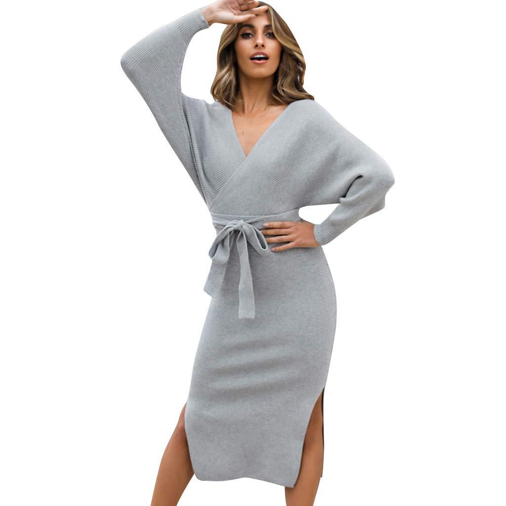 FEDULK Womens Vintage Dress Solid Colour V Neck Long Sleeve Bow Bandage Open Fork Hem Midi Dress(Gray, Small) by FEDULK