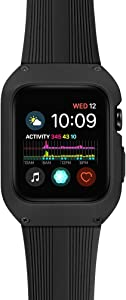 Tasikar Case with Band Compatible with Apple Watch Band 44mm with Rugged Protective Case Silicone Strap Band Compatible with Apple Watch SE Series 6 Series 5 Series 4 (Black)