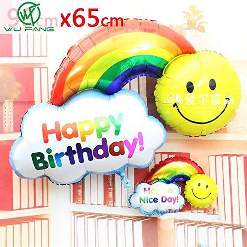 Wedding Decoration - 2pcs Foil Balloons Happy Birthday Party Wedding Decoration Large Size Smile Face Rainbow Globos - Material Feathers Bows Starfish Balloon Book Cloth Greenery Cake Gift