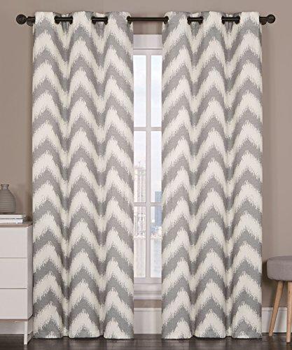 2 Blackout Room Darkening Window Curtains Grommet Panel Pair Drapes Thermal Gray Chevron 84″