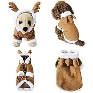 Mogoko Pet Costumes Dog Christmas Suit Dog Elk Santa Costume Polar Fleece Fit for Puppy Dog(L)