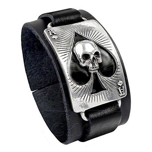 (Alchemy Gothic Ace of Dead Spades Skull Leather Bracelet ULA1)